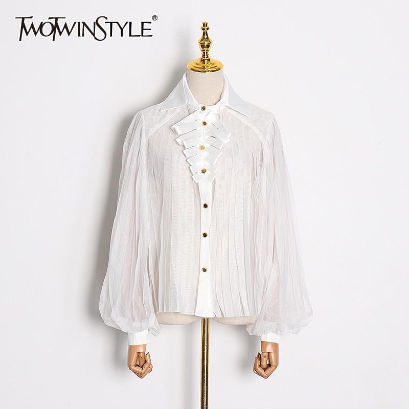 TWOTWINSTYLE Spring White Elegant Women's Shirts Lapel Collar Lantern Sleeve Patchwork Spliced Shirts Female Fashion New 2020