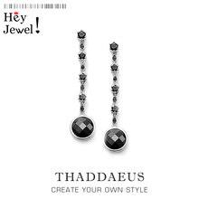 Серьги-капли черная звезда, Томас Стиль Карма хорошее модное ювелирное изделие в богемном стиле подарок для женщин, Ts подарок в 925 пробы серебре