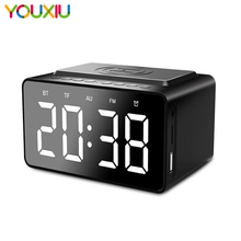 FM Wireless Bluetooth Speaker with Clock LED Alarm Clock Power Bank Three - In - One Clock Waterproof support TF AUX FM speaker slang 3w bluetooth v3 0 multifunctional speaker w fm microphone tf deep pink