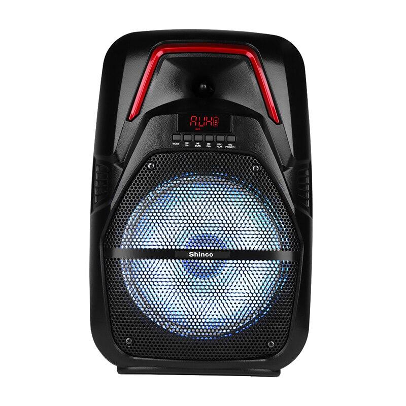 Shinco portátil pa sistema de alto-falante dj luz bluetooth karaoke alto-falante com microfone sem fio sistema áudio alta potência para festa