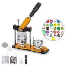 Botão fabricante emblema máquina com 100 conjuntos círculo botão peças girar botão emblema perfurador máquina de imprensa para diy emblemas todo o tamanho
