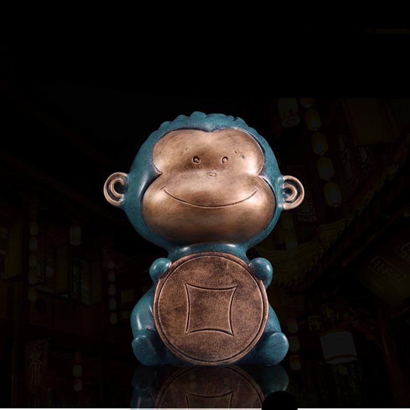 Moderne Simple singe tirelire maison résine artisanat ornements tirelire banque de pièces affichage de caisse décorations pour la maison R2587