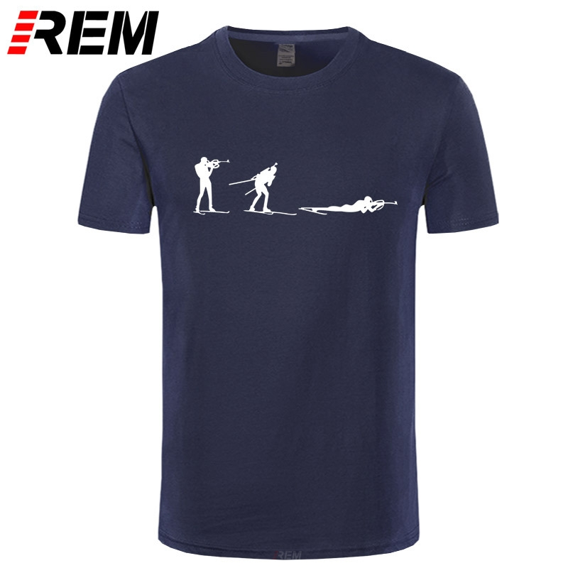 REM New Fashion Winter Biathlon T Shirts Men Short Sleeve Cotton Cool Shoot T-shirt Camisetas Tops Men Clothing