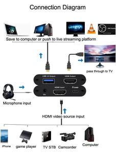 Image 5 - USB3.0 HDMI 4K 1080P 60FPS וידאו לכידת כרטיס משחק הקלטת מקליט תיבת USB 3.0 PC הזרמת זרם חי שידור מיקרופון אפשרות
