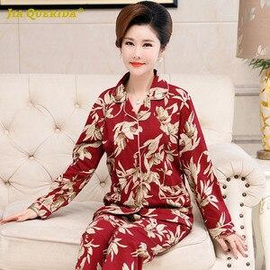 Image 4 - Skręcić w dół kołnierz Homesuit Homeclothes długi rękaw długie spodnie drukowanie piżamy piżamy piżamy zestaw Pj zestaw piżamy dla kobiet
