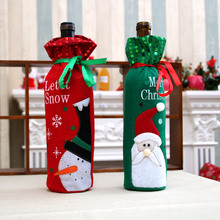 Christmas Decorations for Home Wine Bottle Kits Elves Bags Red Champagne  Ornaments Party Favors