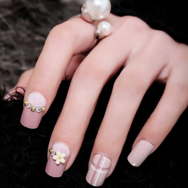 Juego de 24 unidades de uñas postizas de estilo fresco con estampado de flores, Diseño de uñas artificiales, rosa, rojo, azul, con pegamento para uñas 11,11