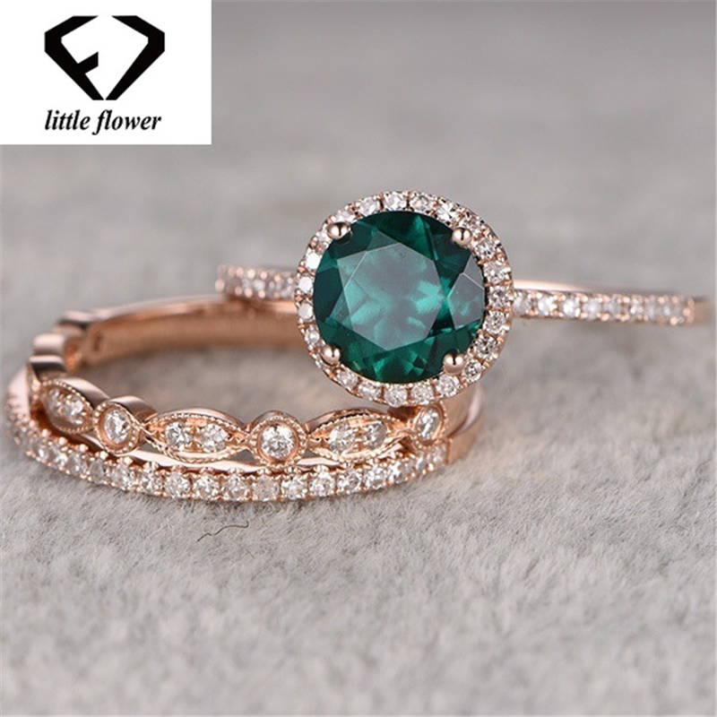 14k Rose Gold Set Of Turquoise Three-piece Ring Engagement Diamond Emerald Diamante Jewelry Anillos For Women Ring Gemstone
