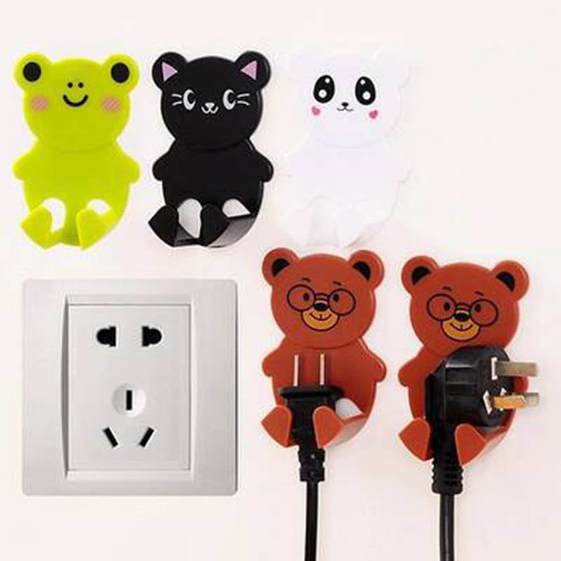 Adhesive Home Storage Hook Wall Mount Plug Socket Hanger Plastic 2Pcs Cartoon Animal Shape Multifunction Plug Socket Holder