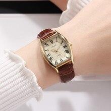 여성 패션 캐주얼 정품 가죽 스트랩 시계 여성 빈티지 레트로 방수 시계 매일 세련된 숙녀 합금 버클 시계