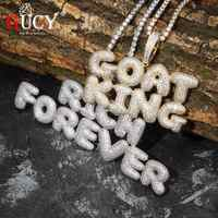 GUCY A-Z Custom Name Bubble Letters Pendant & Necklace Charm Men's CZ Hip Hop Jewelry With Gold Silver Tennis Chain