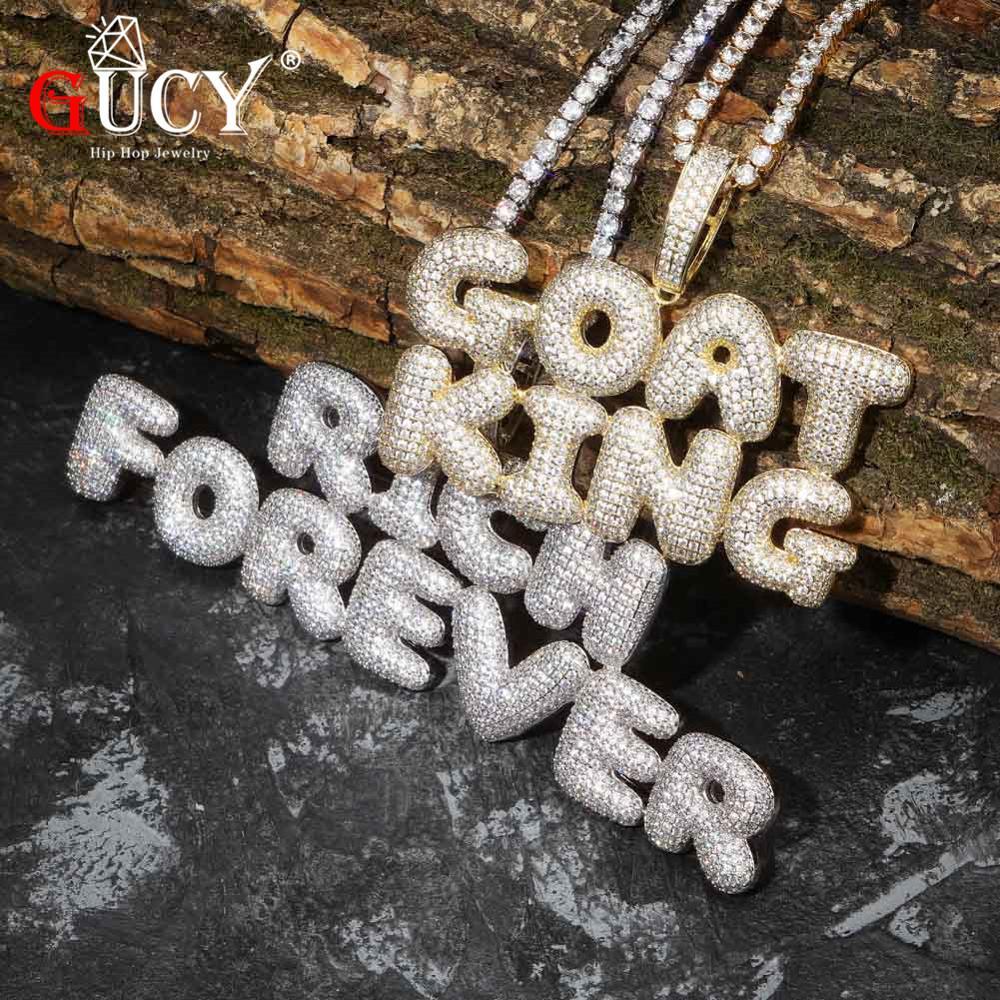 GUCY A-Z nom personnalisé bulle lettres pendentif et breloque collier hommes CZ Hip Hop bijoux avec chaîne de Tennis en argent or