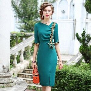 Image 1 - 2019 yeni sonbahar Kadınlar Lüks Tasarım Ünlüler Yay Parti Elbise 3xl Rahat tarzı Ofis Bayan elbise Artı Boyutu Kalem iş elbiseler