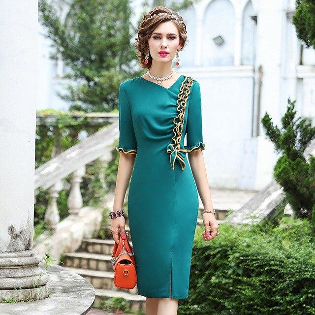 2019 yeni sonbahar Kadınlar Lüks Tasarım Ünlüler Yay Parti Elbise 3xl Rahat tarzı Ofis Bayan elbise Artı Boyutu Kalem iş elbiseler