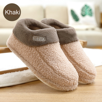 Large Size 43-45 Comfortable Fur Slippers Women Shallow Plush Suede Home Shoes Woman Solid PVC Winter Slippers For Women