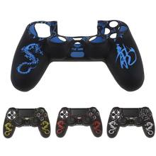 1 Set New Chinese Dragons Silicone Gamepad Cover Case + 2 Joystick Caps For PS4 Controller(China)