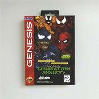 스파이더 맨 게임 Venomed Seperation Anxiety 소매 상자가있는 미국 커버 Sega Megadrive Genesis 용 16 비트 MD 게임 카드