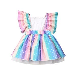Платье для девочек Одежда для новорожденных девочек топы без рукавов с оборками и радужным принтом + бальное платье-пачка комплект одежды и...