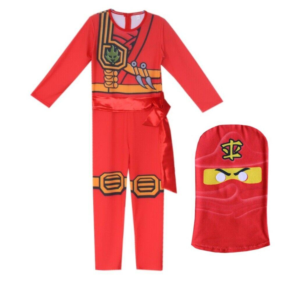 Kids Ninjago Party Costumes Boy Girls Halloween Cosplay Jumpsuits Ninja Superhero Suit Children Carnival Purim Clothes Set 6