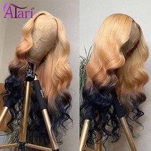 Parrucca anteriore in pizzo con onda bionda Ombre parrucche colorate trasparenti per capelli umani parrucche brasiliane per capelli vergini per donne nere parrucca blu