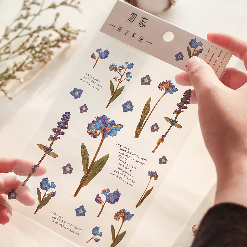 JIANWU 6 Types Flower Series PET Flat Stickers DIY Diary Decor Stickers Scrapbook Cute Stationery Bullet Journal Supplies