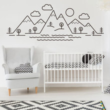 Cartoon Pattern Mountain Scene Wall Sticker Vinyl Home Decor Kids Room Nursery Decals Tree Cloud Landscape Decorative Mural 4381 cartoon plant vinyl decorative wall sticker