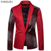 Red Shiny Sequin Men Blazer Two-color Splice Suit Coat Men Wedding Singer Stage Nightclub Dj Party Mens Blazer Jacket Masculino(China)