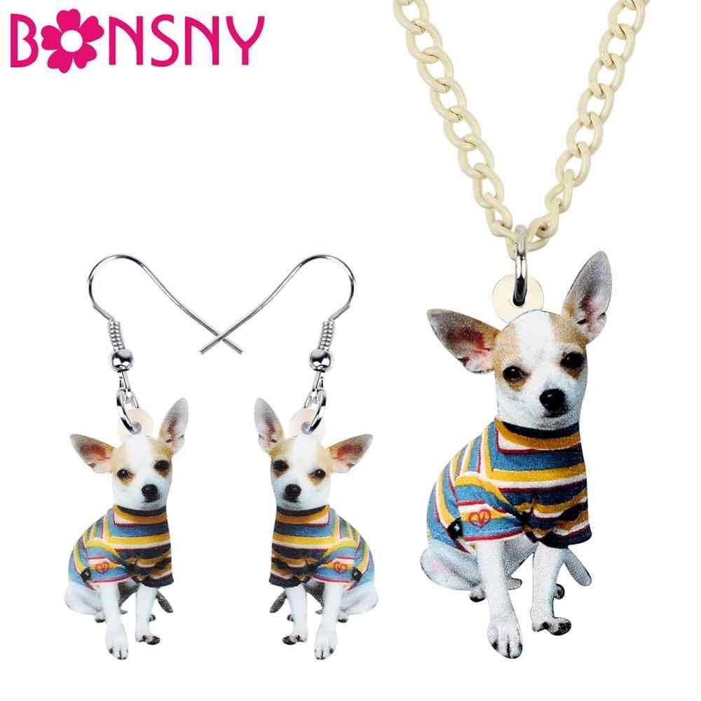 Bonsny Akrilik Takı Setleri Anime Çizgili Chihuahua Yavru Köpek Kolye Küpe Karikatür Kolye Gençler Için Moda charm Hediye
