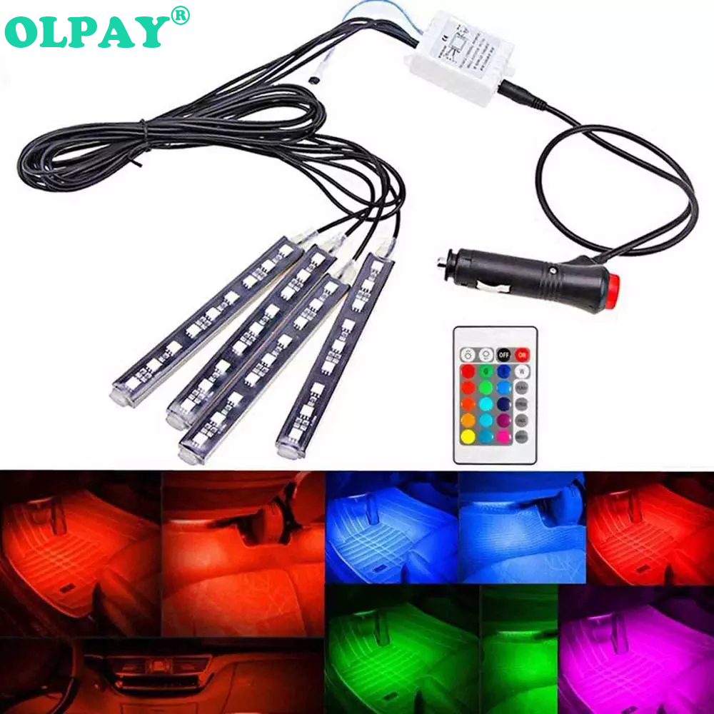 Universal Car RGB LED Strip Light Colors Decorative Atmosphere Lamps Auto Pathway Floor Interior With Remote