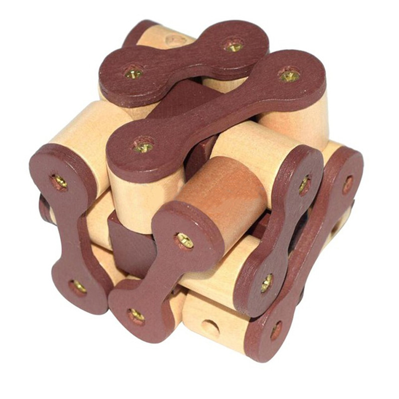 Classical Wooden Early Intelligence Toy Brain Teaser Game Burr Puzzle 3D Chain Lock Puzzle For Kids Adult Gift