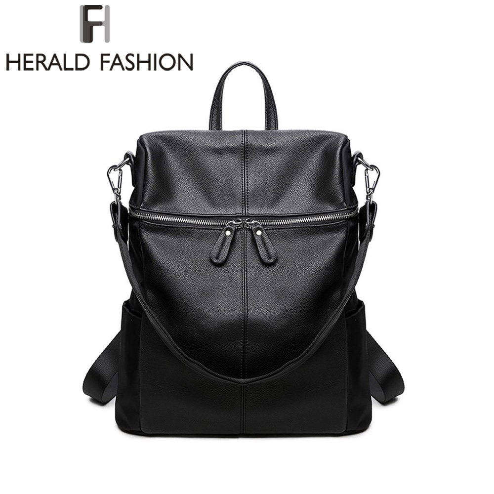 Herald Fashion Women's PU Leather Backpack School Bags For Teenage Girls Large Capacity Backpack Laptop Bag Drop Shipping image