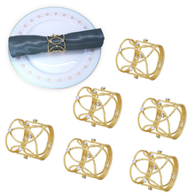 TAI Top 6Pcs Cross Gold Silver Crystal Napkin Rings Wedding Festival Decoration Metal Napkin Holder Table Napkins Party Supplie tai top 1 pc flower napkin rings gold silver crystal napkin holders napkin buckle for wedding dinner party table decoration