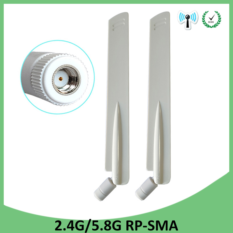 2pcs 2.4GHz 5GHz 5.8Ghz Antenna 8dBi RP-SMA Connector Dual Band 2.4G 5G 5.8G Wifi Antena Aerial SMA Female Wireless Router