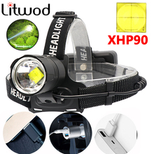 Super Bright XHP90 USB Rechargeable Led Headlamp XHP70 Most Powerfull Headlight Fishing Camping ZOOM Torch by 3*18650 Battery