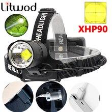 Z40 8000 Lumen XHP90 LED ตกปลาแคมป์ไฟหน้าสูงโคมไฟหัว Zoomable USB ไฟฉายไฟฉาย 18650