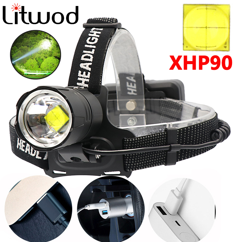 Z40Super Bright XHP90 USB Rechargeable Led Headlamp XHP70 Most Powerfull Headlight Fishing Camping ZOOM Torch By 3*18650 Battery