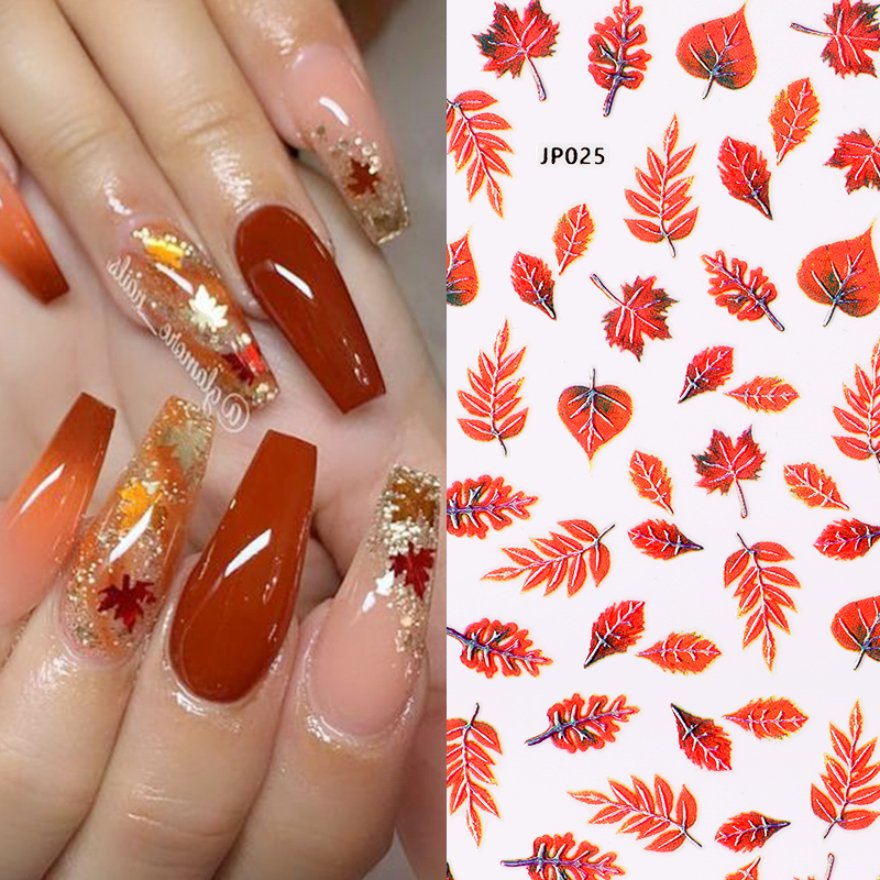 1 Sheet Maple Flower Pattern 3D Nail Stickers Summer Theme Nail Art Transfer Decals Paper Design Tip Wrap Slider Nail Decoration