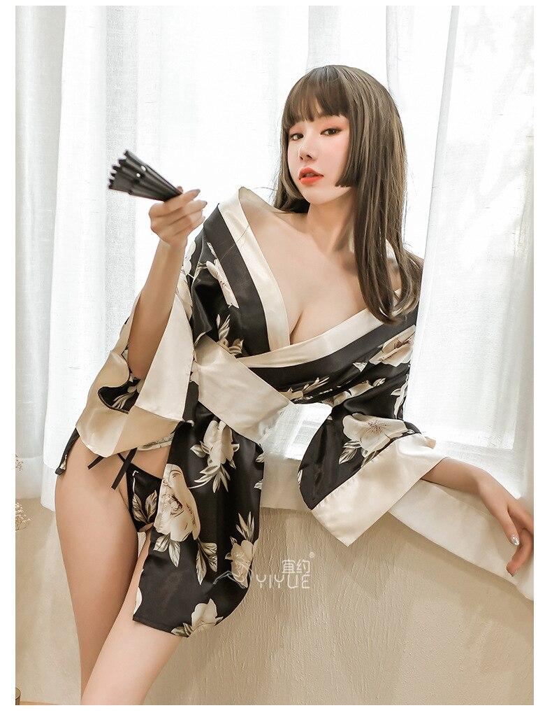 Японское кимоно, платье, косплей для женщин, одежда для сна, юката, пикантная Пижама, шелковая японская одежда с принтом