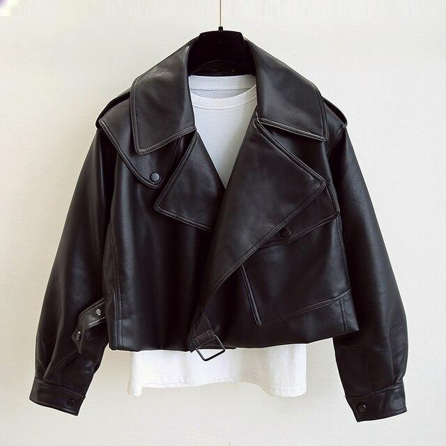 FTLZZ New Spring Women Faux Leather Jacket Biker Red White Coat Turndown Collar PU Motorcycle Jackets Loose Streetwear Outerwear 1