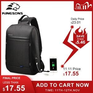 Image 1 - Kingson 13 حقيبة صدر للرجال الأسود حقائب كتف واحدة مع USB شحن مقاوم للماء النايلون حقائب كروسبودي حقيبة ساع البيع