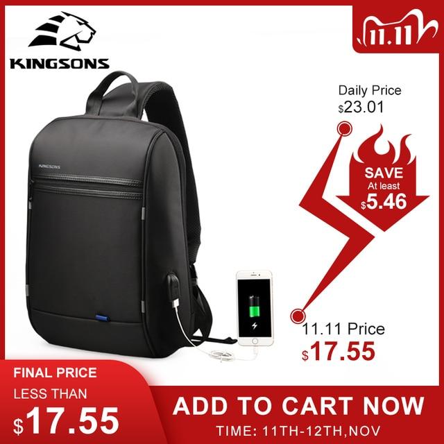 Kingson 13 حقيبة صدر للرجال الأسود حقائب كتف واحدة مع USB شحن مقاوم للماء النايلون حقائب كروسبودي حقيبة ساع البيع