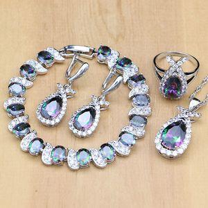 Image 1 - Doğal mistik gökkuşağı zirkon taş balık gümüş 925 takı setleri kadınlar için parti küpe/kolye/yüzük/bilezik/Kolye seti