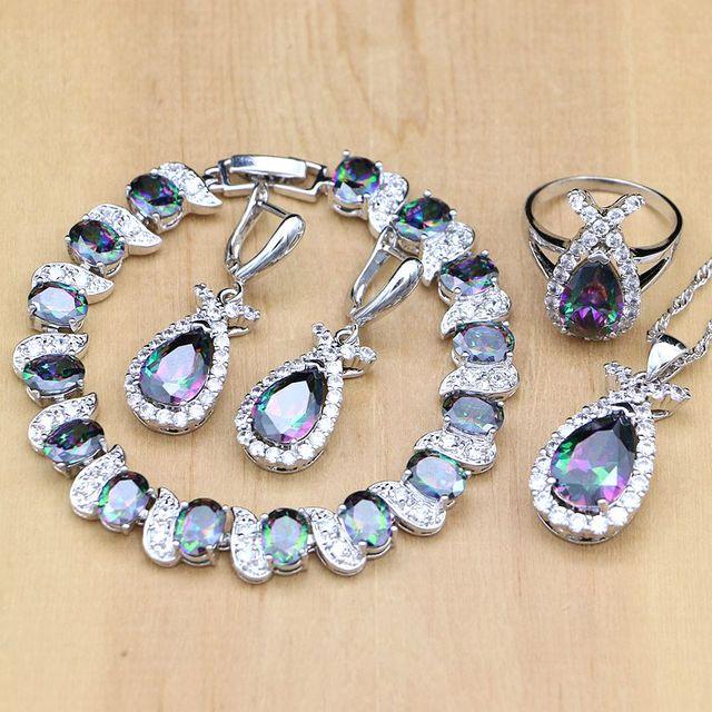 Doğal mistik gökkuşağı zirkon taş balık gümüş 925 takı setleri kadınlar için parti küpe/kolye/yüzük/bilezik/Kolye seti