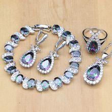 Naturel mystique arc en ciel Zircon pierre poisson argent 925 ensembles de bijoux pour les femmes fête boucles doreilles/pendentif/bague/Bracelet/collier ensemble