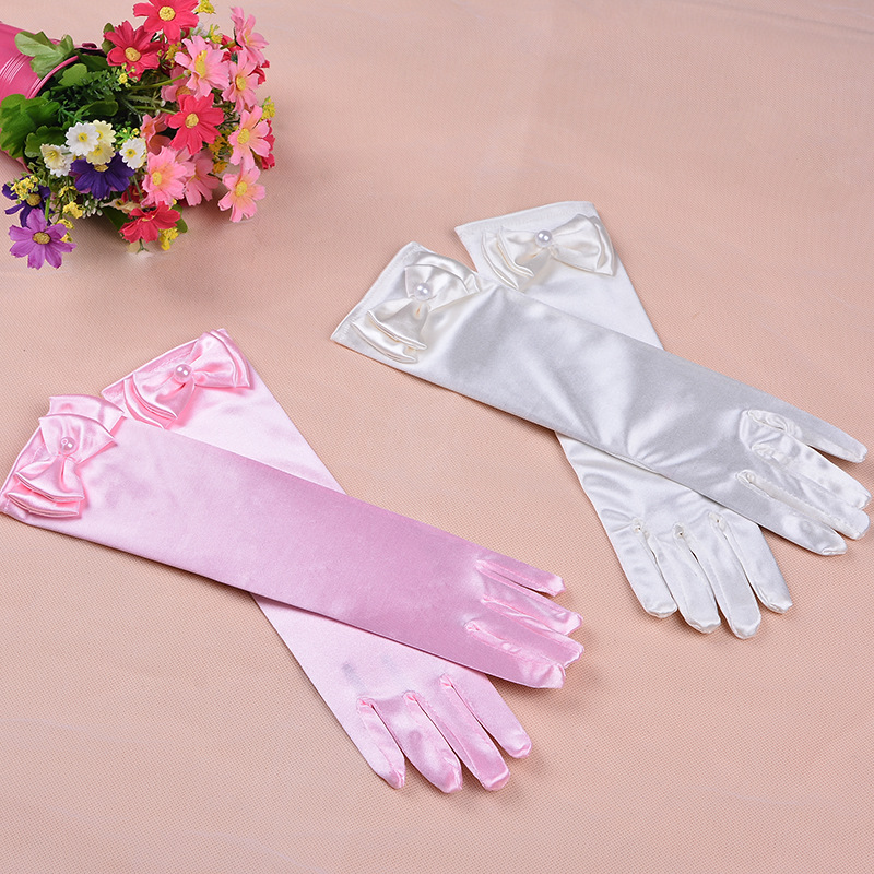 Satin Bridal Gloves for girls Long princess Cosplay Accessories wedding dress glove with bow costume birthday gift blue(China)
