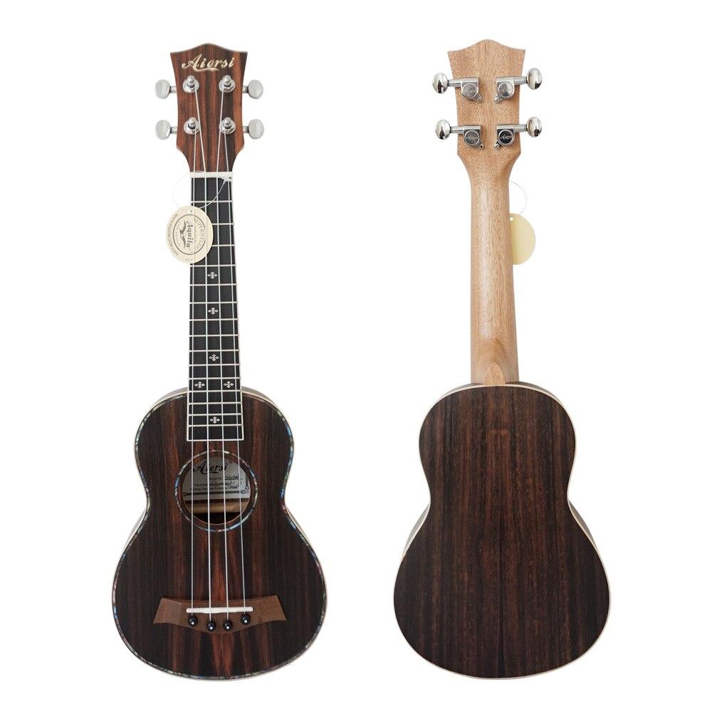Ukulélé de guitare uke en ébène jave de 21 pouces avec sac