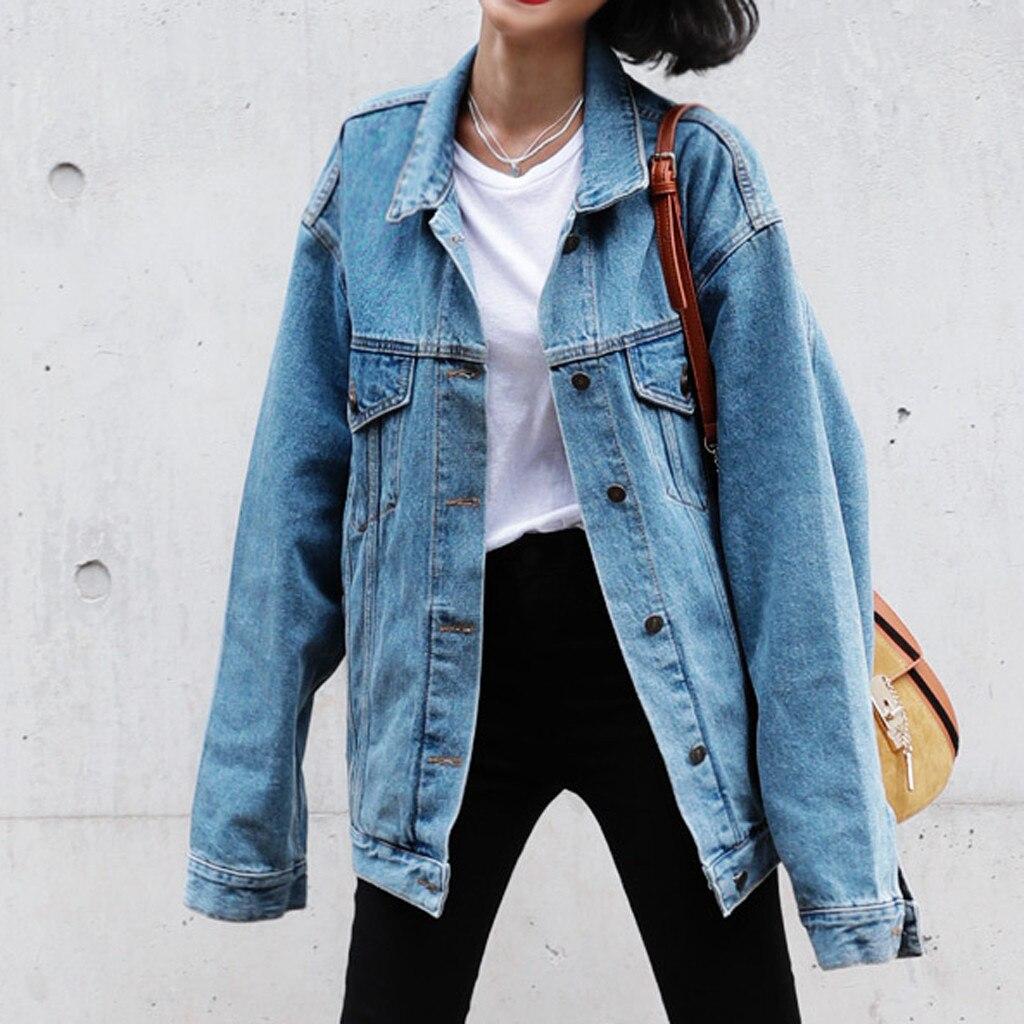 Women Basic Coat Denim Jacket Loose Long Sleeve Jeans Coat Casual Retro Cowboy Denim Loose Casual Innrech Market.com