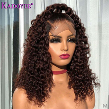 Colored Human Hair Wigs Deep Curly Lace Front Human Hair Wig Malaysia 13 #215 4 Frontal Wig For Women Remy Short Hair Wig Pre-Plucked cheap Kadoyee Long Lace Front wigs Remy Hair Half Machine Made Half Hand Tied Swiss Lace 1 Piece Only Medium Brown Malaysia Hair
