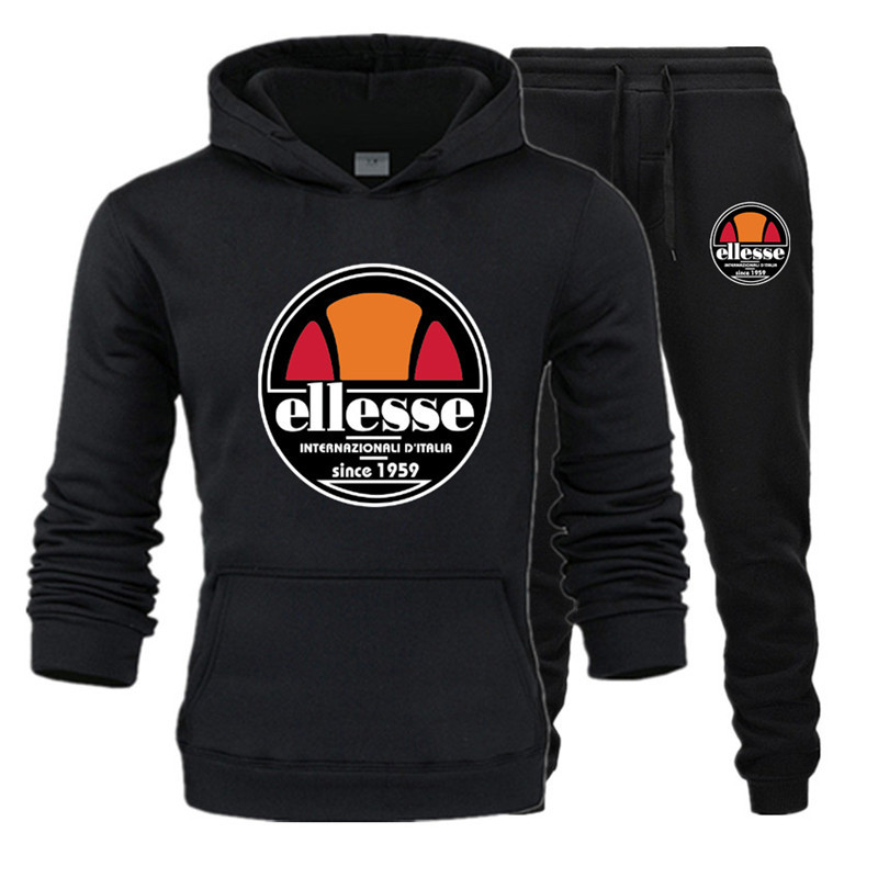 Plus Velvet Pullover Hoody Europe And America Fashion Spring And Autumn New Style Ellesse Hoodie Men Hooded Set