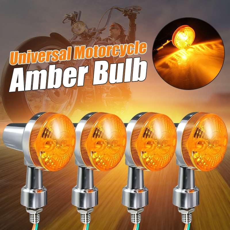 4pcs 12V Universal Motorcycle Motorbike Turn Signal Light Lamp Indicatior Lamp Amber Bulb